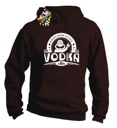 Vodka Always Drunk as Fuck - Bluza męska z kapturem brąz