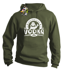 Vodka Always Drunk as Fuck - Bluza męska z kapturem khaki