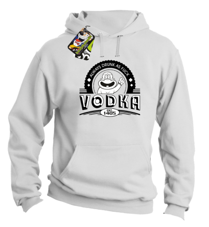 Vodka Always Drunk as Fuck - Bluza męska z kapturem biala