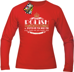 POLISH for begginers Scotch me tea who you - Longsleeve męski czerwony
