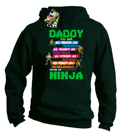 Daddy you are as brave as Leonardo Ninja Turtles - Bluza męska z kapturem