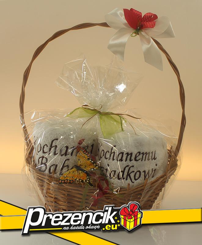 Koszyk dla kochanej babci i kochanego dziadka dekoracyjny z ręcznikami i ozdobami