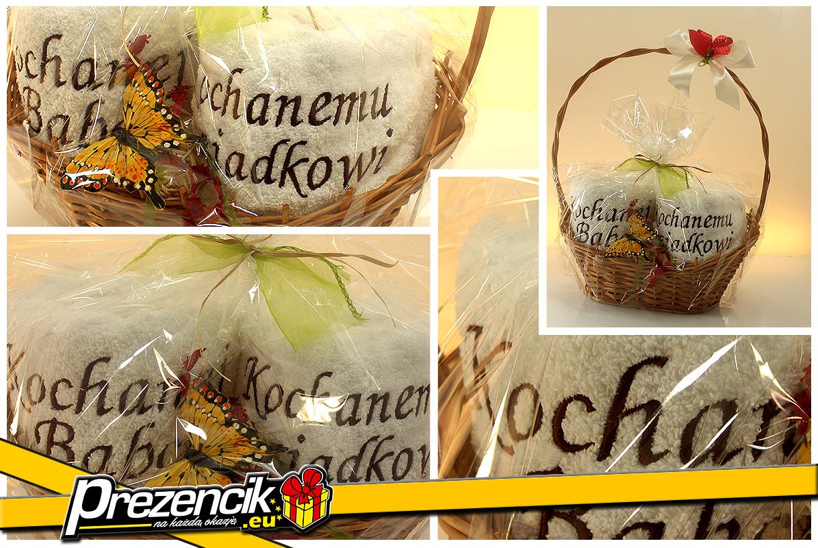 Koszyk dla kochanej babci i kochanego dziadka dekoracyjny z ręcznikami i ozdobami 4